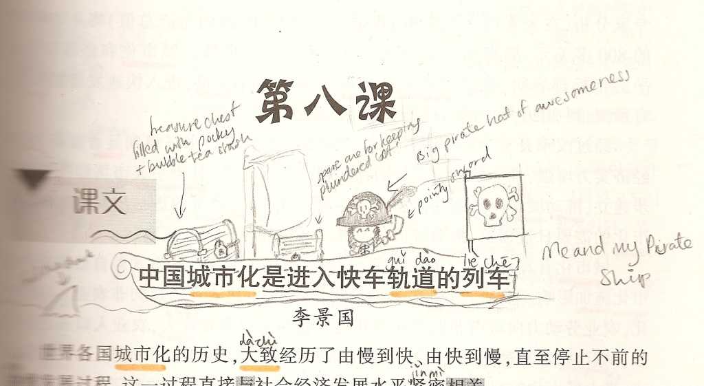 A doodle I drew in one of my textbooks during my year abroad in Beijing.