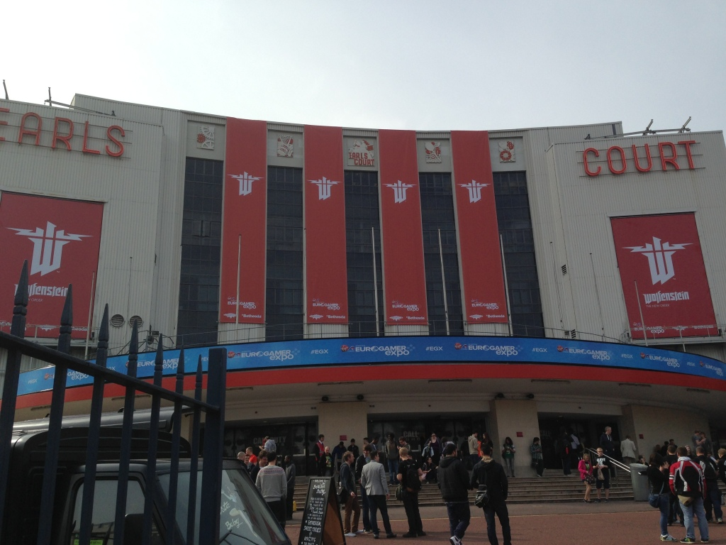 Outside the Earls Court exhibition centre