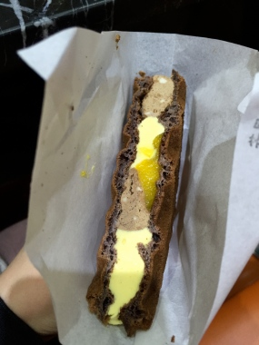 Chocolate and mango ice cream sandwich